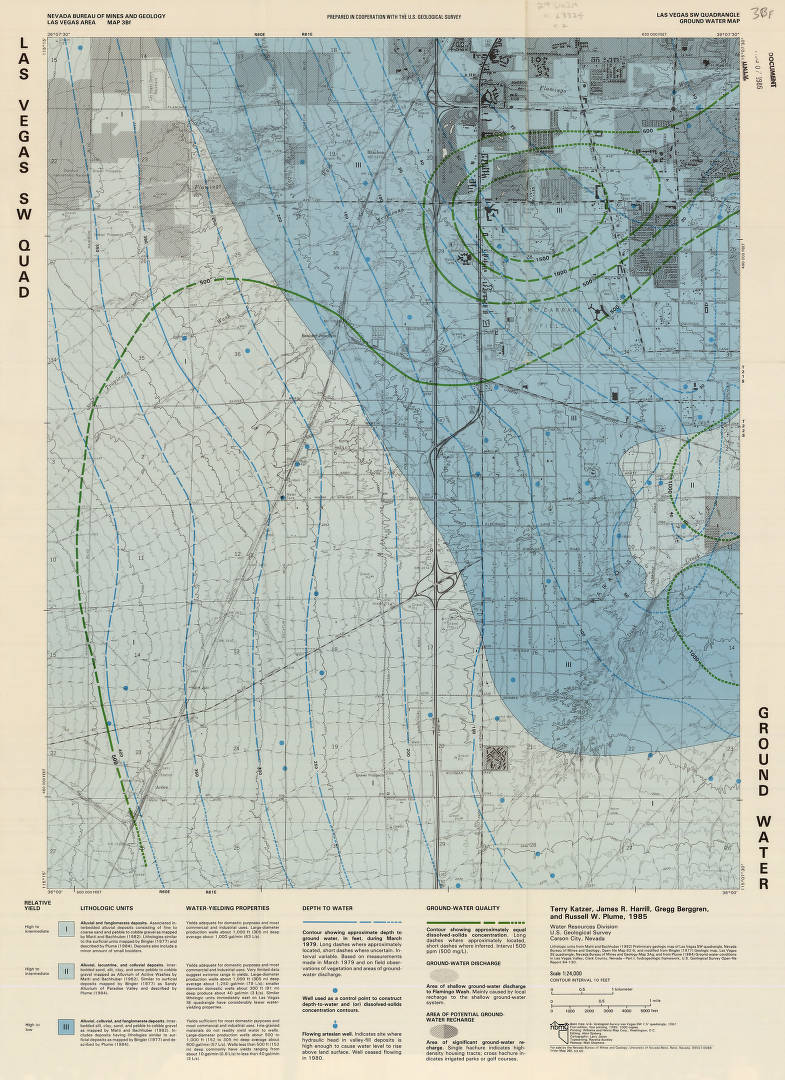 topographic map las vegas Topographic Map Of Groundwater In The Southwest Quadrangle Of Las Vegas Nevada 1985 Southern Nevada And Las Vegas History In Maps Welcome To Unlv S Digital Collections
