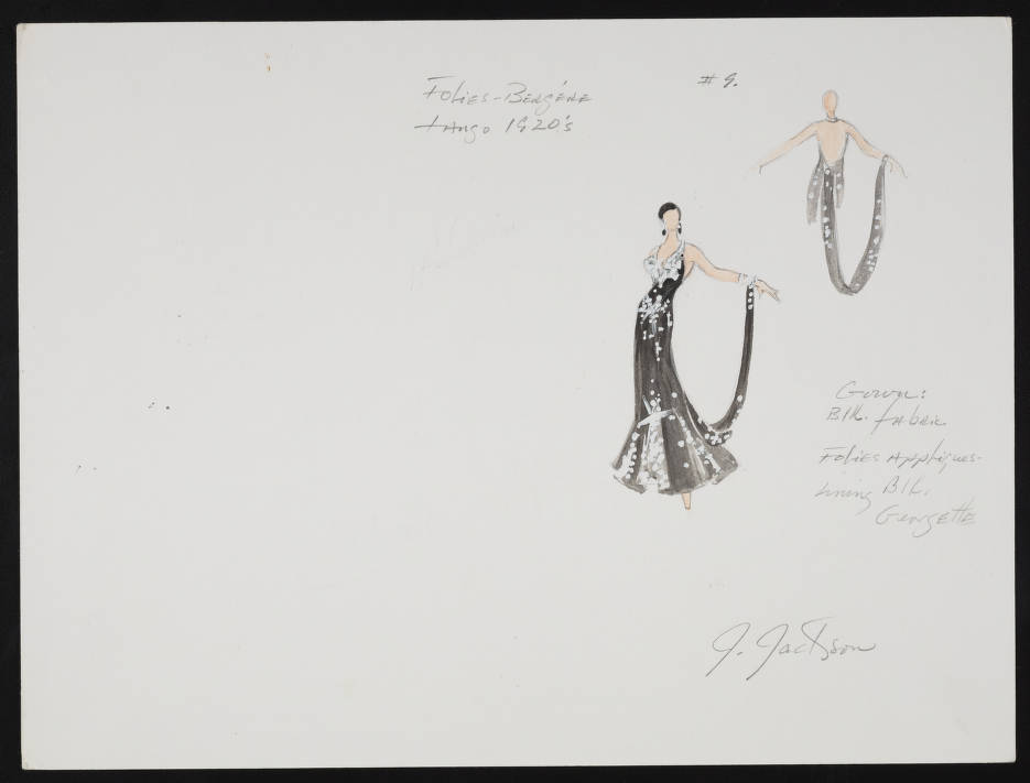 Tango 9 Original Costume Design Drawing With Notes Entertainment