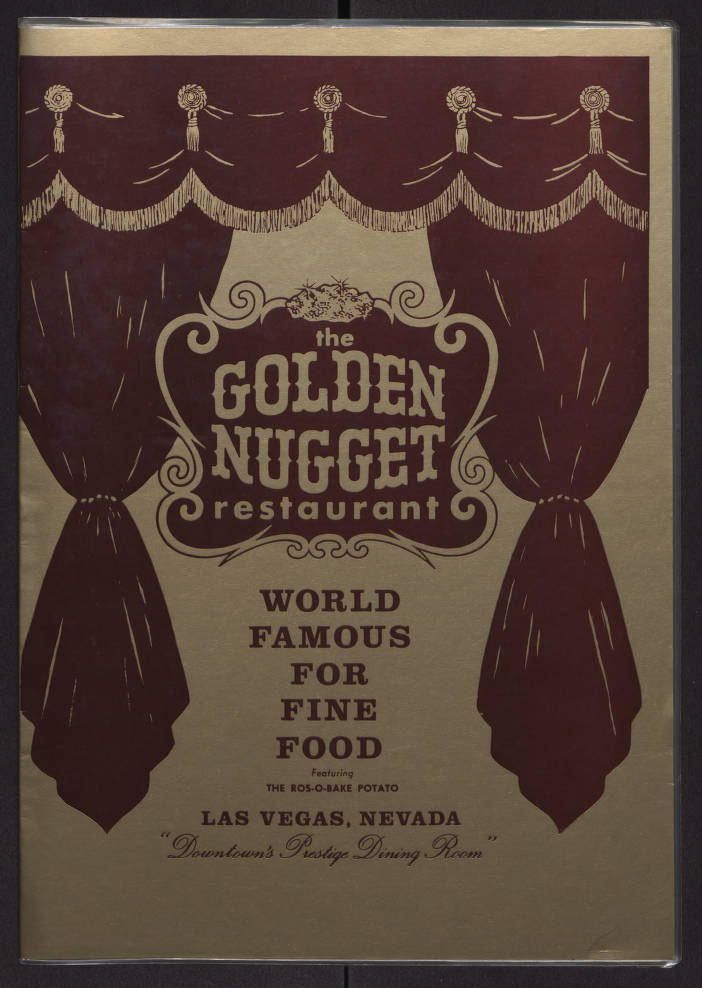 Golden Nugget Restaurant Dinner Menu, Front Cover, Circa Late 1960s