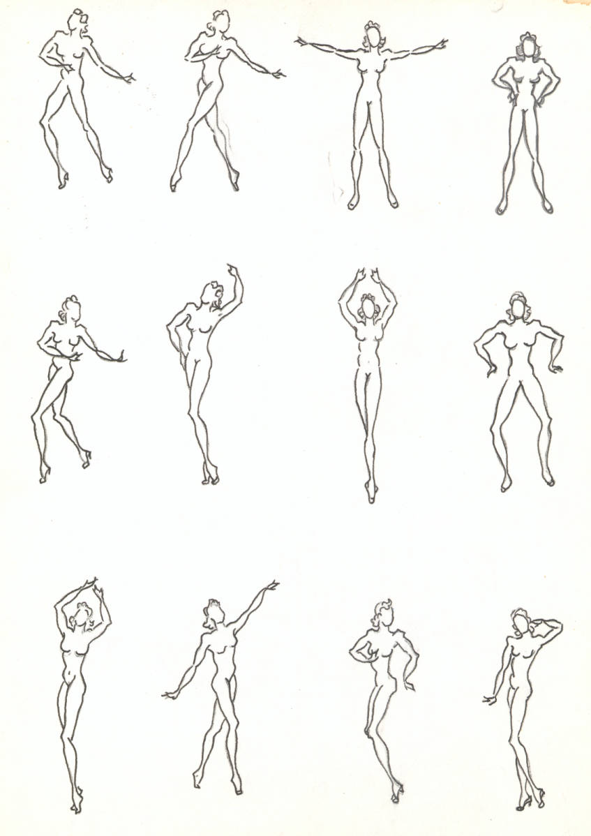 Costume design drawing, template of nude female dance poses, circa ...